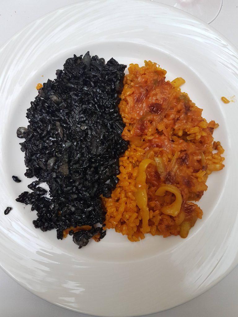 Arroz negro y arroz con ajetes y choco