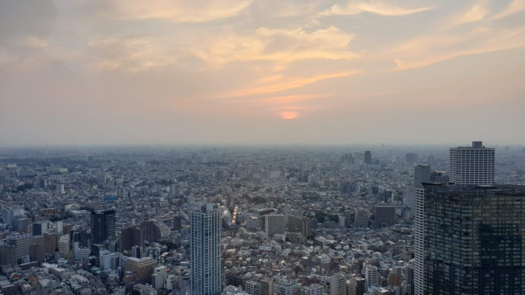 Sunset in Tokyo from the Government Tower, what to see in Tokyo in 4 days