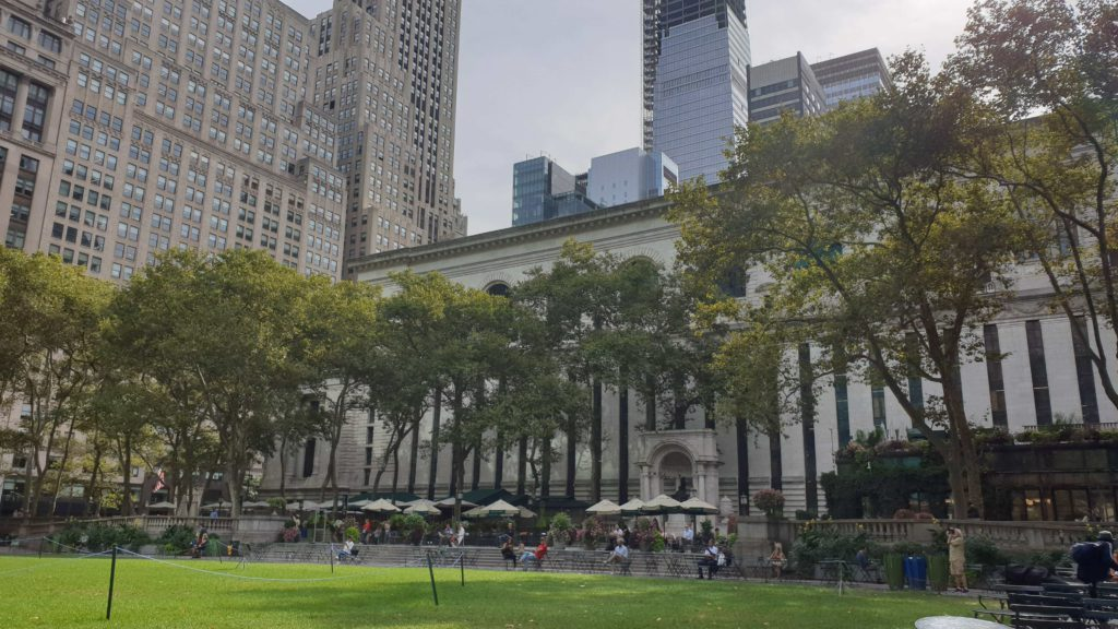 Bryant Park nearby the Public Library from New York