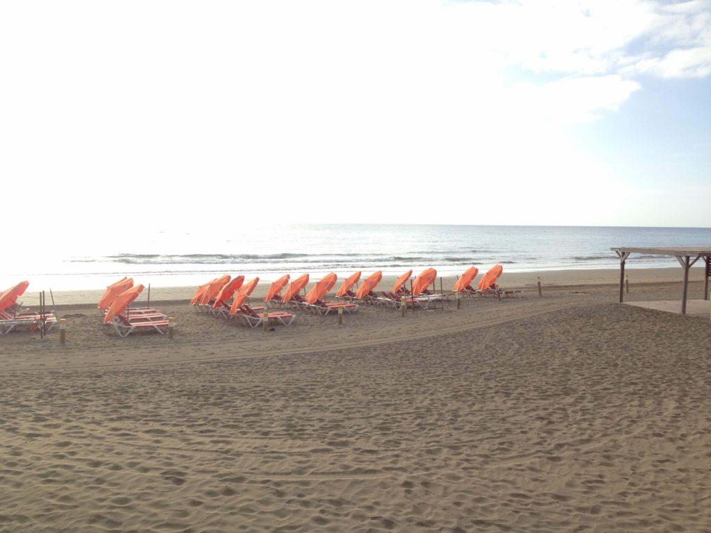 Hamacas y sombrillas en Playa del Inglés