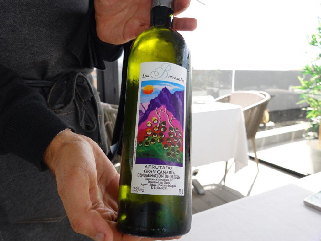 White wine from Los Berrazales, RockTop Skybar restaurant