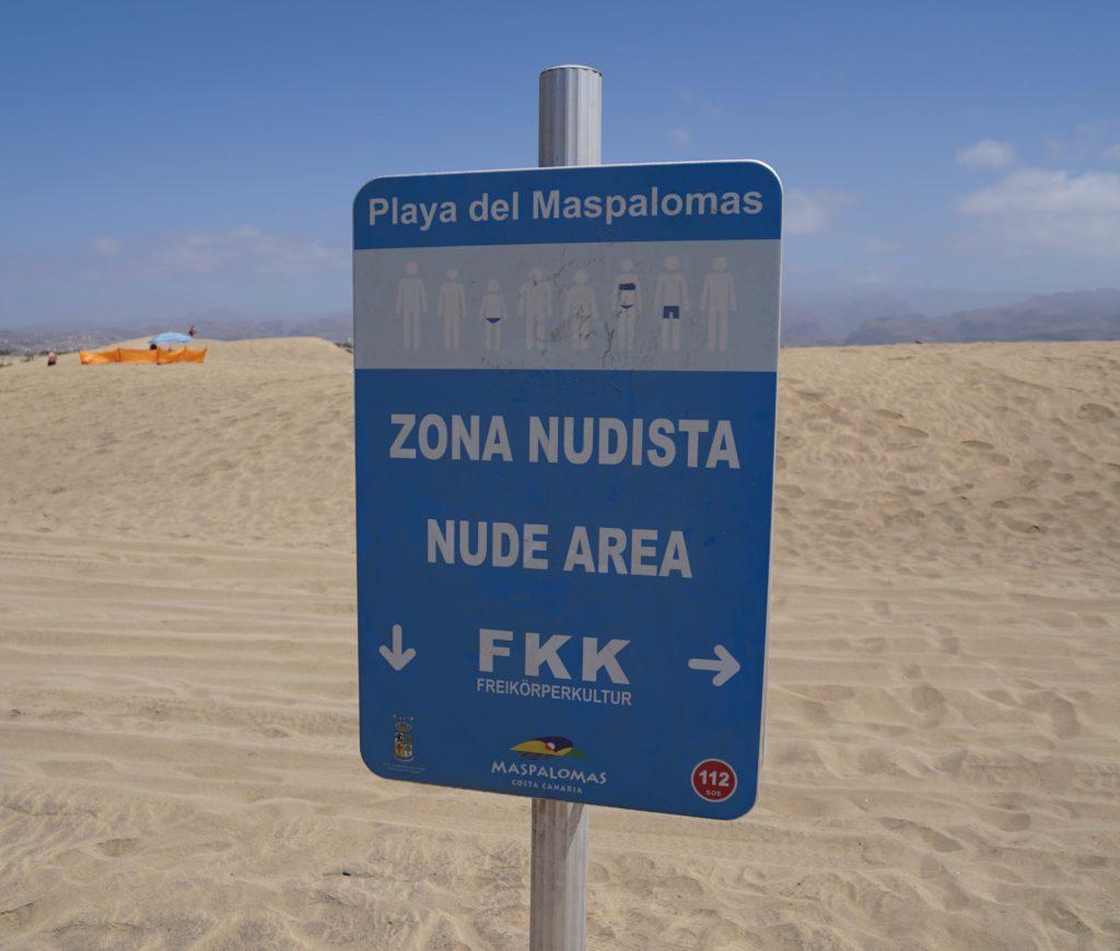Nudist area Maspalomas beach