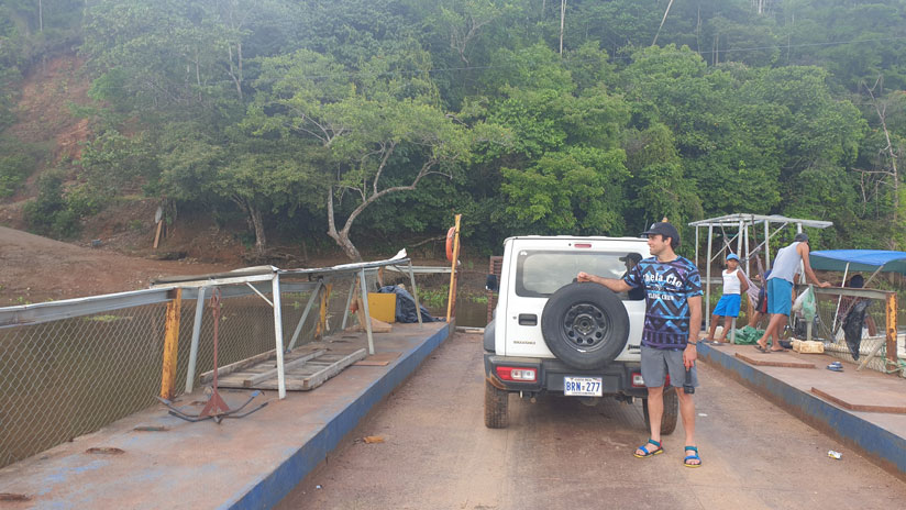 Our 4x4 crossing Sierpe during our trip to Costa Rica