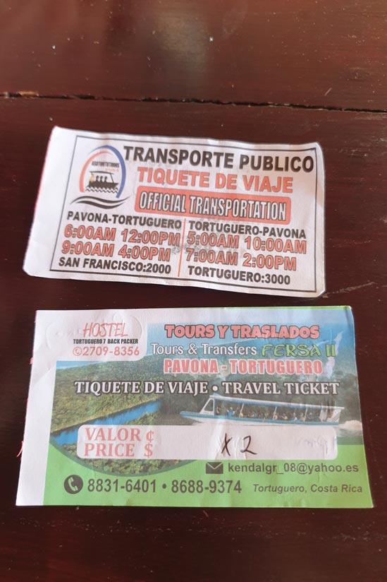 Ticket ida y vuelta barco Tortuguero